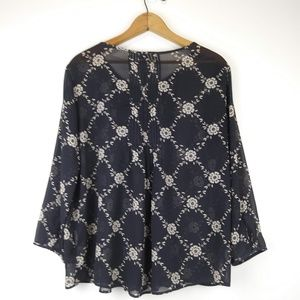 Old Navy Tops - Old Navy Sheer Black/Taupe Blouse w/3/4 Sleeves L